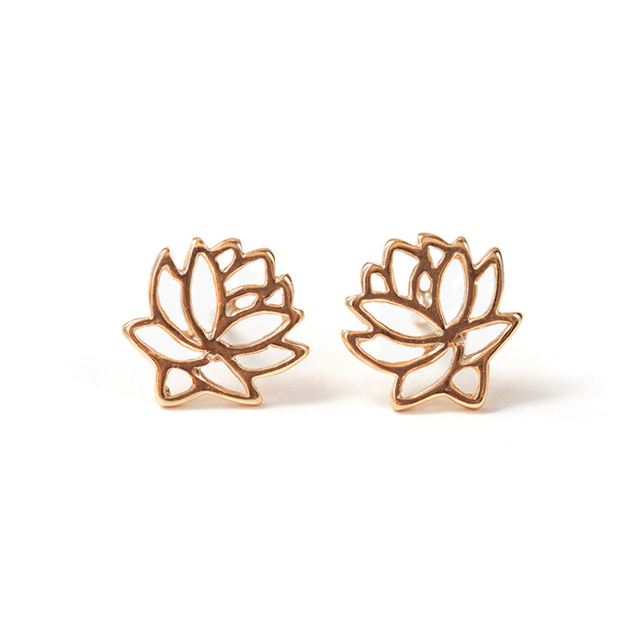 Rose Gold Lotus Stud Earrings