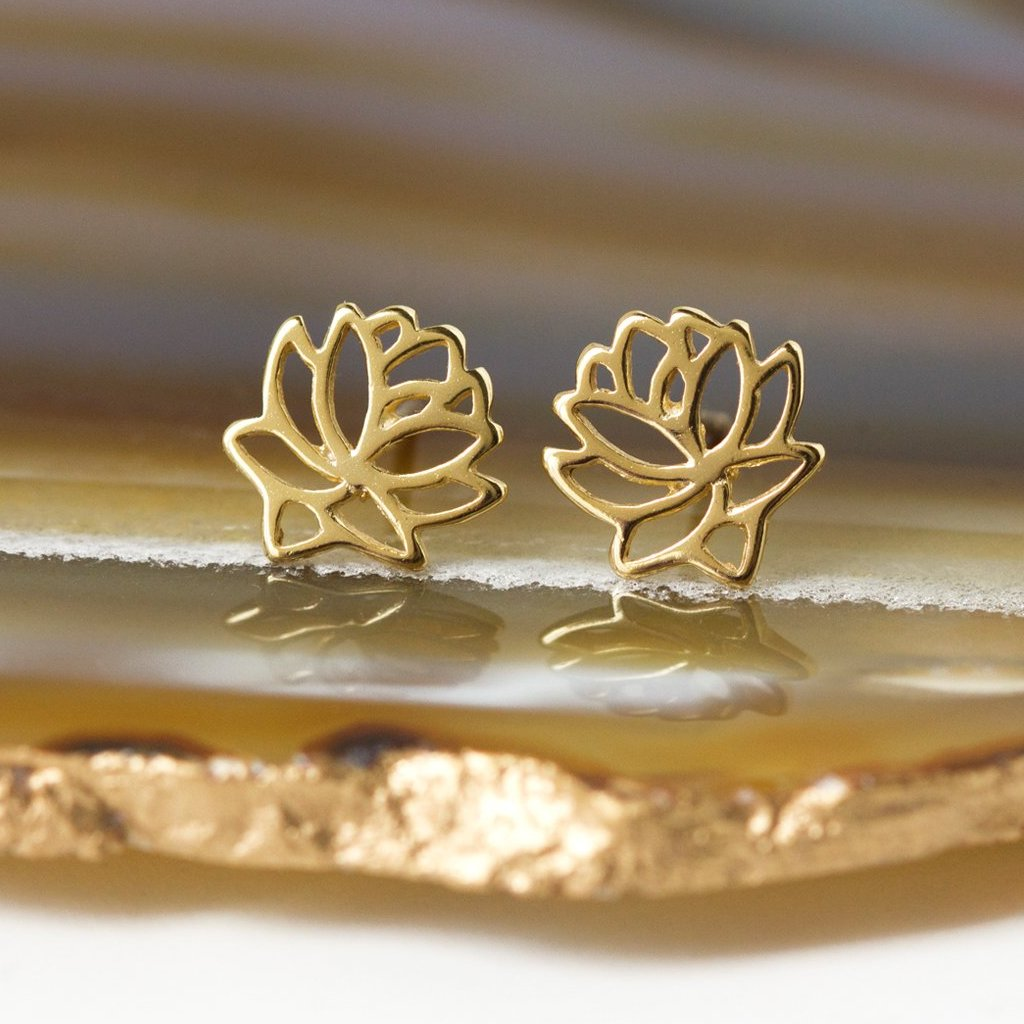 Lotus Flower Stud Earrings, Earrings - AMY O. Jewelry