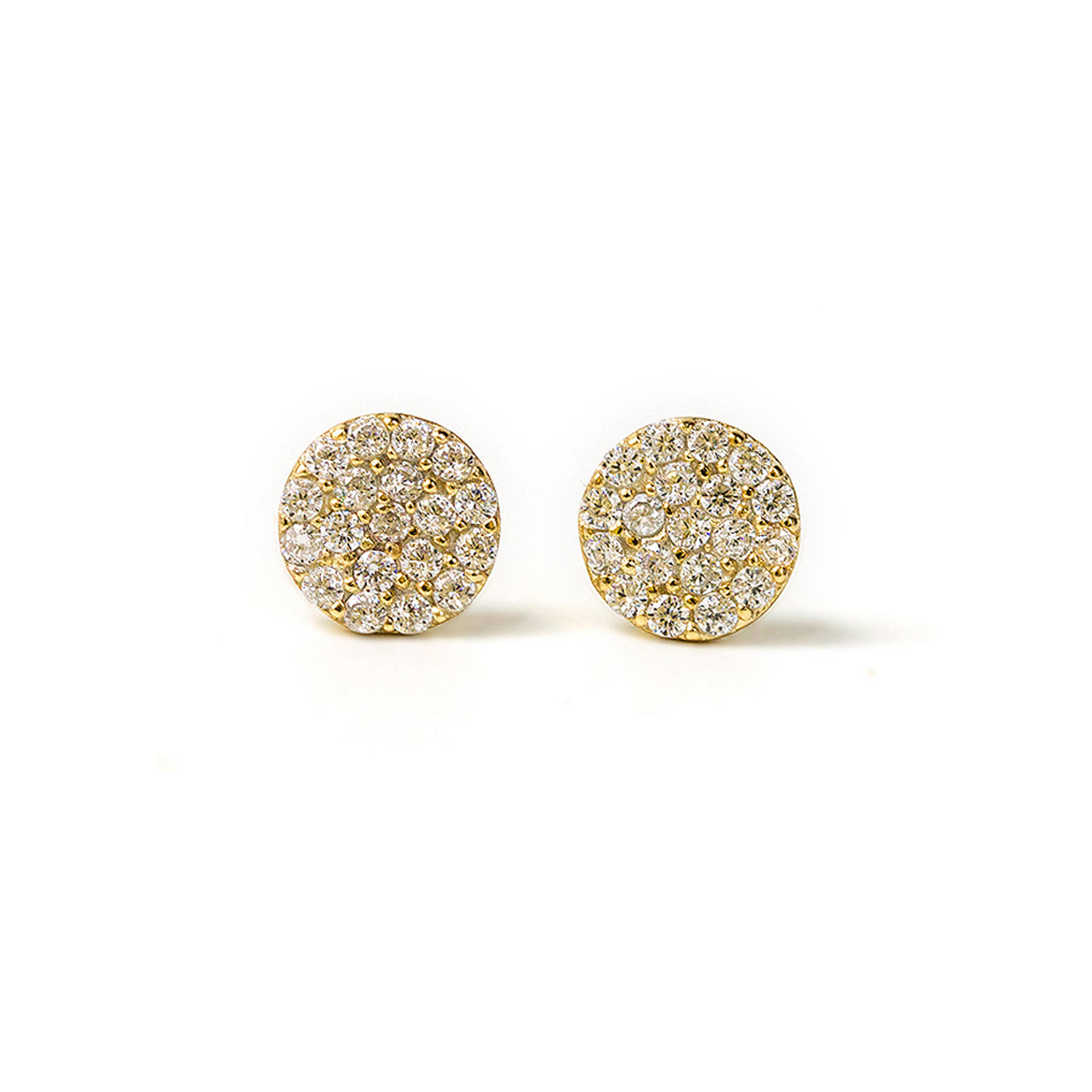 Small Gold Pave CZ Disc Stud Earrings
