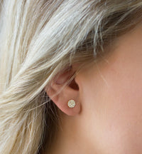 Tiny Gold Round Pave CZ Stud Earrings