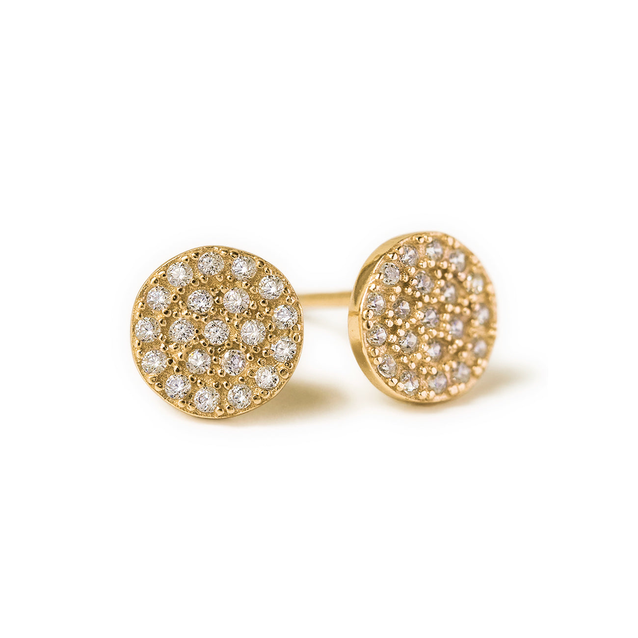 Gold Pave CZ Disc Stud Earrings