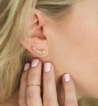 Gold Crystal Ear Climber Earrings with Dainty Gold Ring