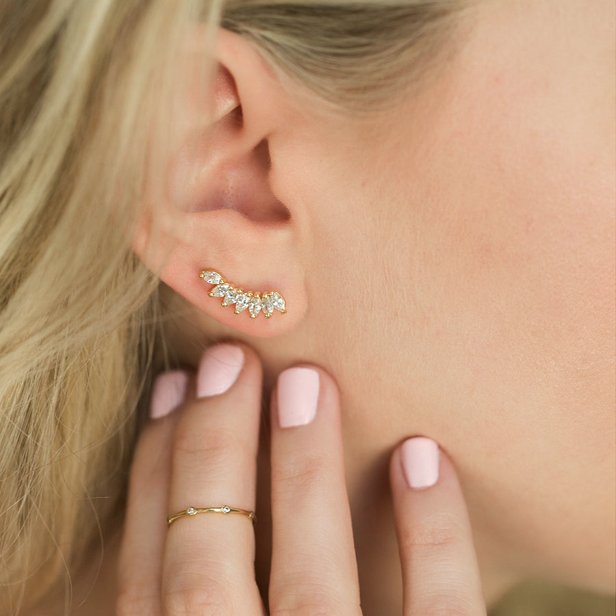 Navette Ear Climber Earrings, Earrings - AMY O. Jewelry