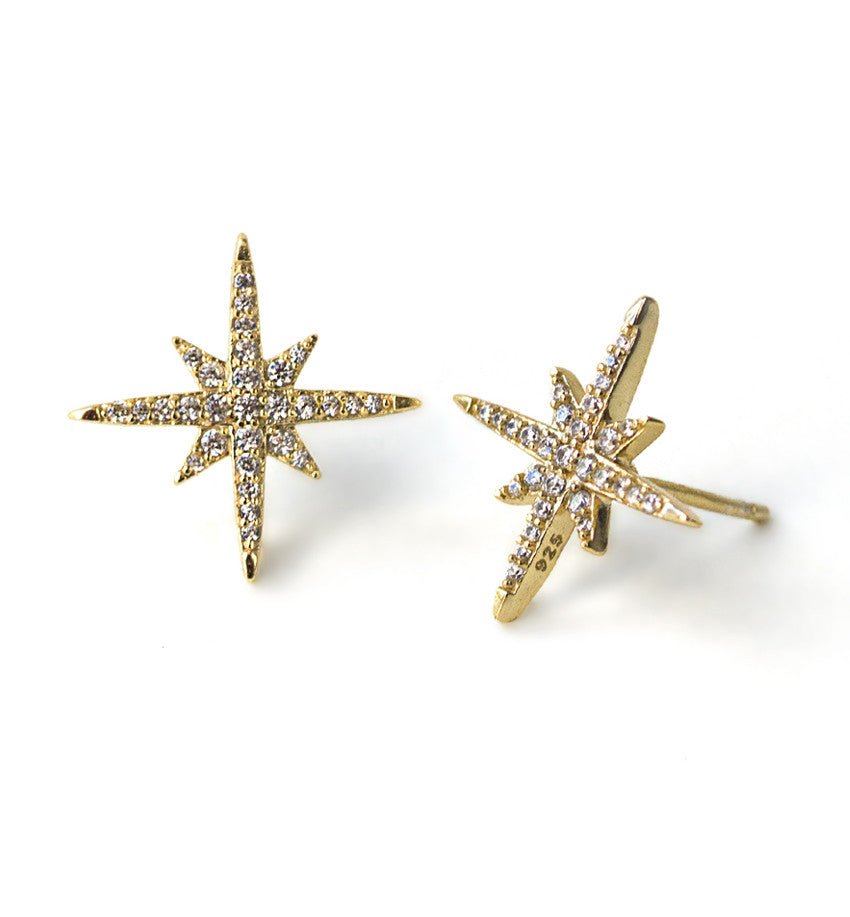 Celeste Star Burst Stud Earrings, Earrings - AMY O. Jewelry