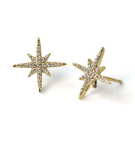 Celeste Gold Pave Stud Earrings, Earrings - AMY O. Jewelry