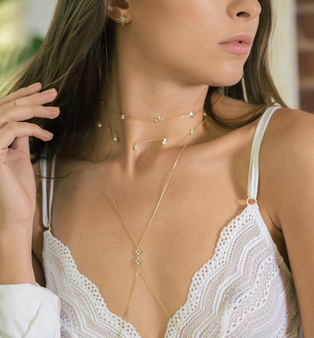 Sienna Gold Crystal Choker, Necklaces - AMY O. Jewelry