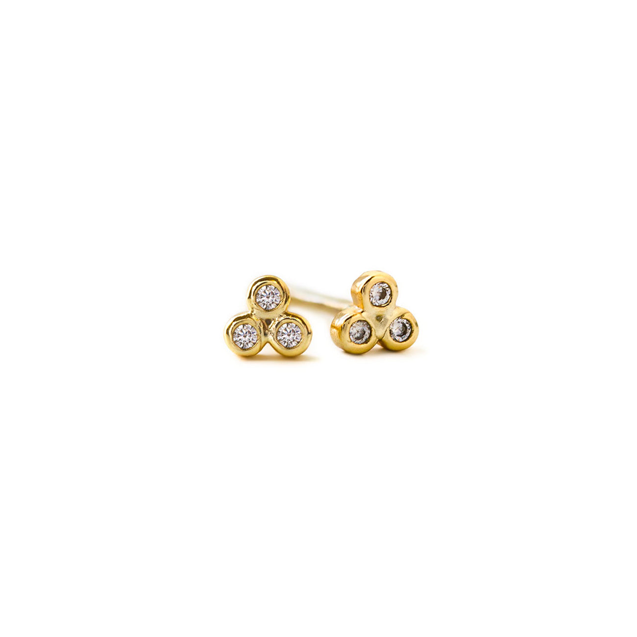 Tiny Gold Clover Stud Earrings