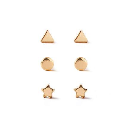 Tiny Star Circle Triangle Studs Set