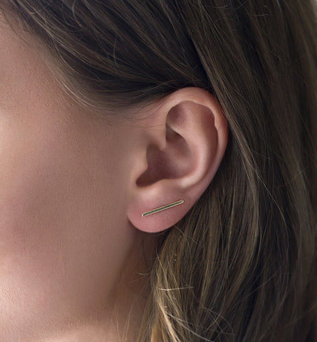 Gold Bar Ear Climber, Earrings - AMY O. Jewelry