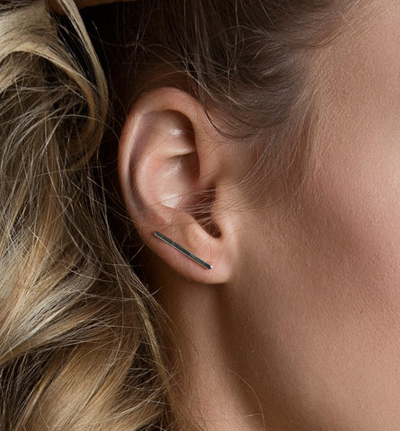 Silver Bar Ear Climber, Earrings - AMY O. Jewelry