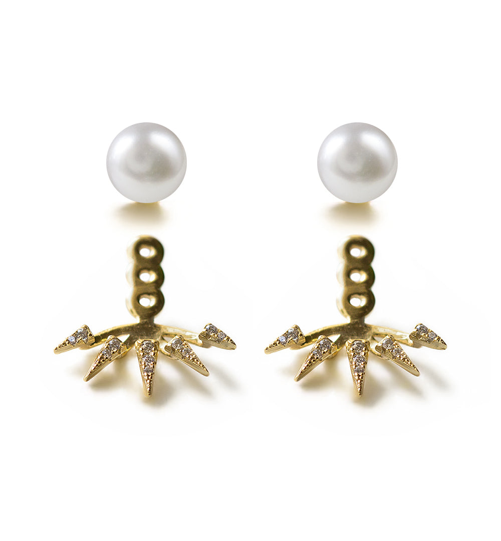 Pearl Spike Ear Jacket, Earrings - AMY O. Jewelry