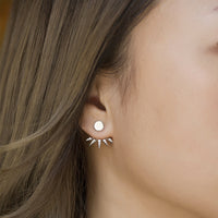 Spike Pave Ear Jacket Earrings