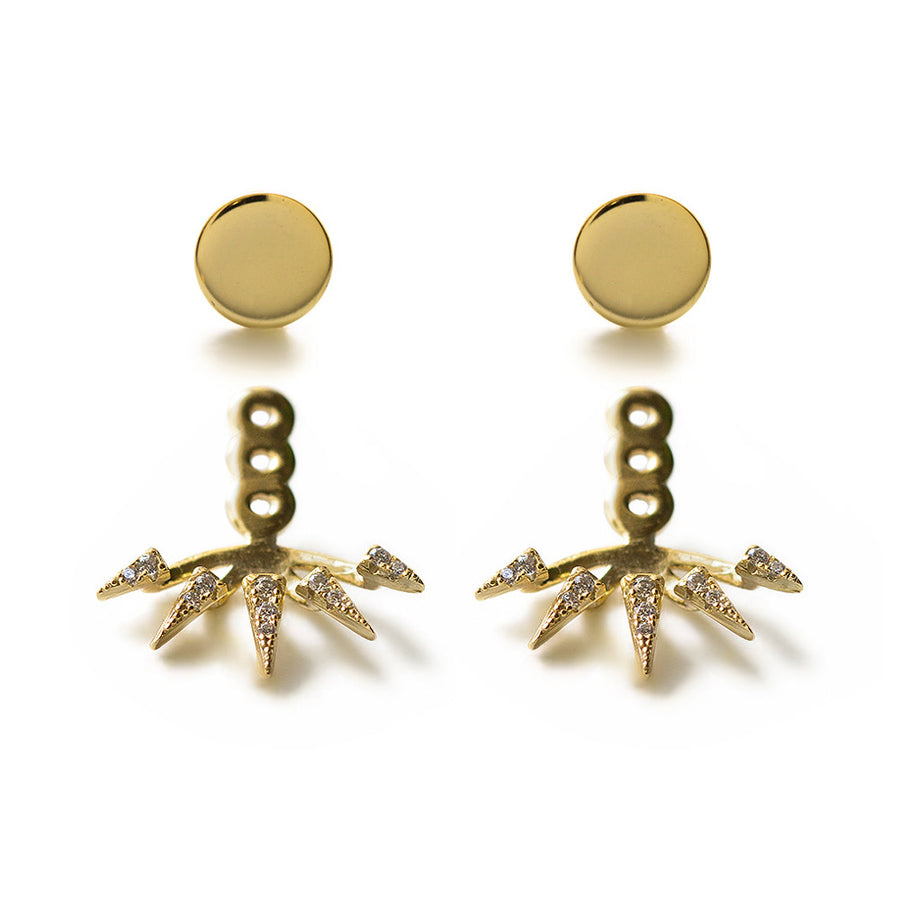 Spike Pave Ear Jacket Earrings, Earrings - AMY O. Jewelry