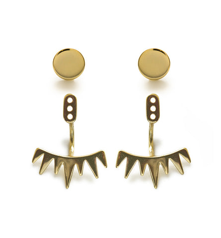 Spike Gold Ear Jacket, Earrings - AMY O. Jewelry