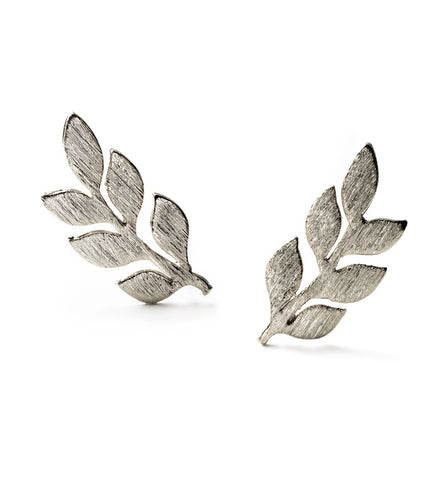Gaia Silver Leaf Earrings