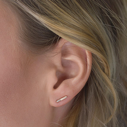Tiny Pavé Bar Stud Earrings