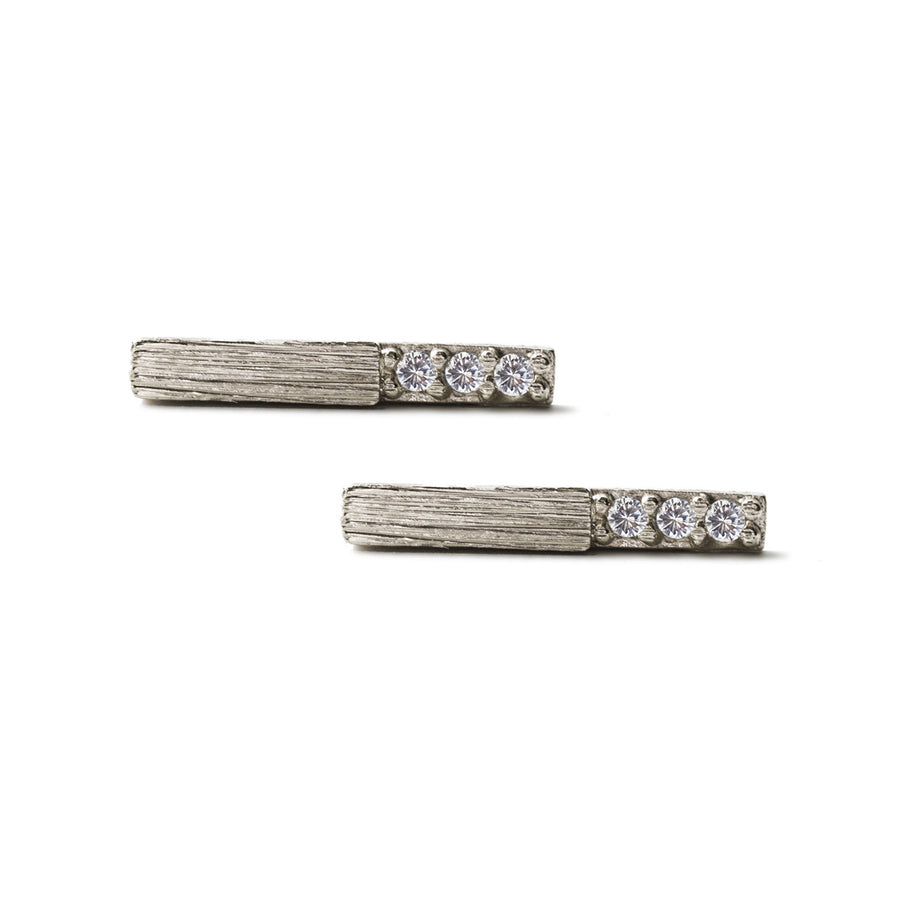 Pave Bar Stud Earrings, Earrings - AMY O. Jewelry