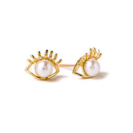 Hamsa Eye Pearl Stud Earrings