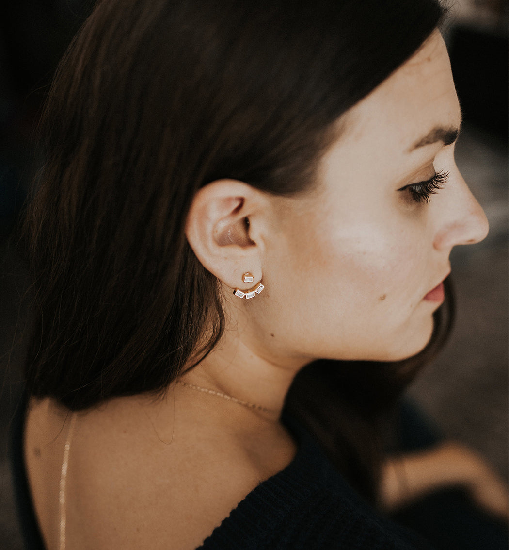 Baguette Ear Jacket, Earrings - AMY O. Jewelry