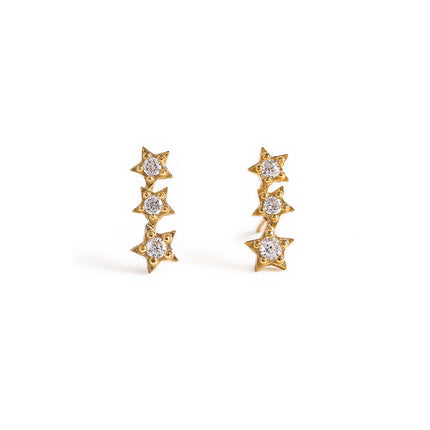 Tri Star Dainty Stud Earrings