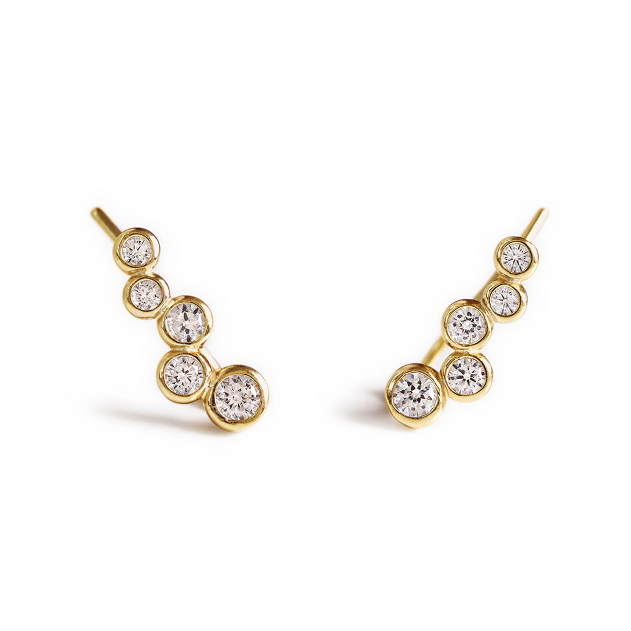 Gold Pave Cluster Ear Climber Earrings