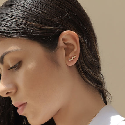 Pave Cluster Ear Climbers