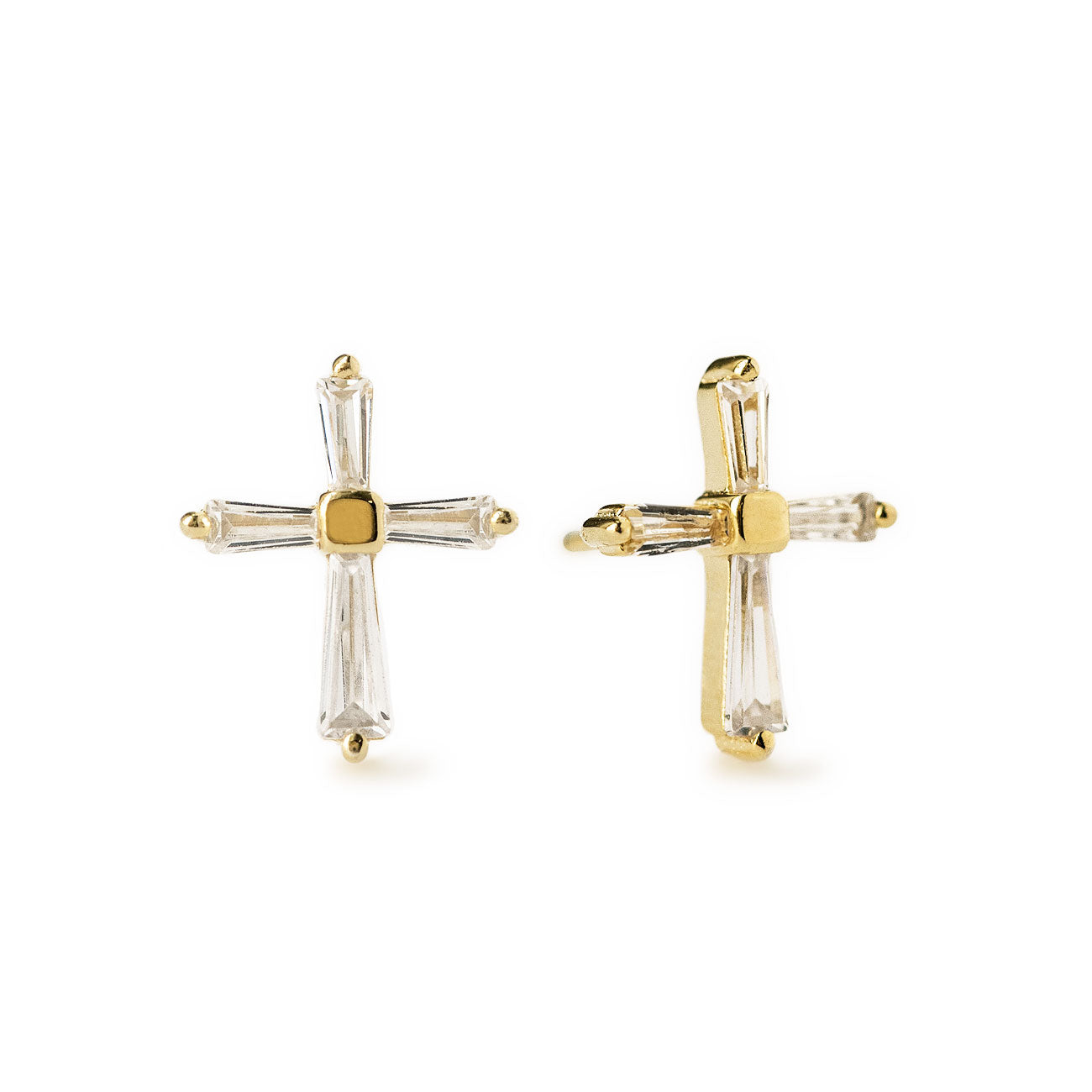 Tapered Baguette Gold Cross Stud Earrings