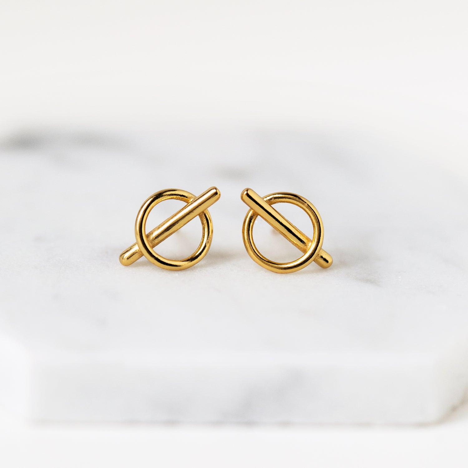 Circle Bar Stud Earrings, Earrings - AMY O. Jewelry