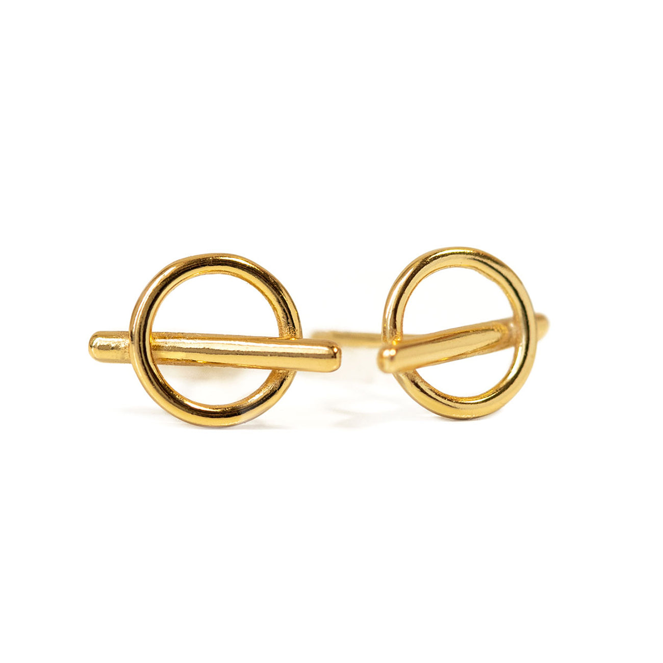 Circle Bar Stud Earrings