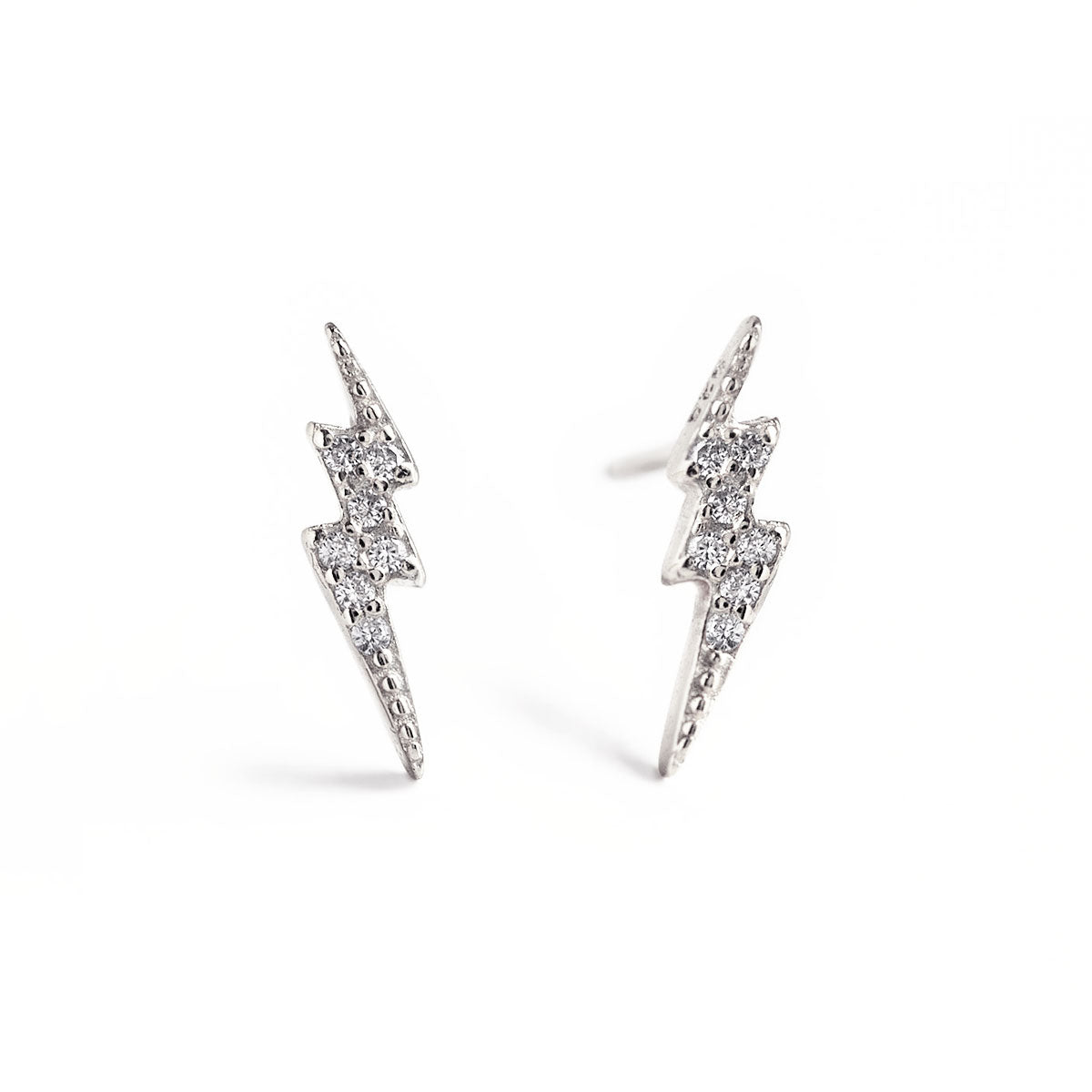 Sterling Silver Pave Lightning Bolt Stud Earrings