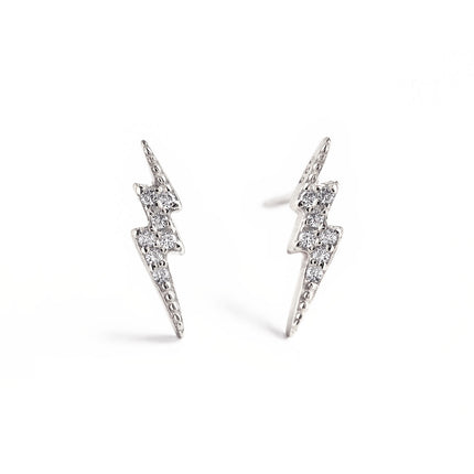 Tiny Lightning Bolt Pave Studs