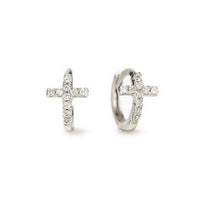 Silver Tiny Cross Huggie Hoop Earrings with Cubic Zirconia Crystals