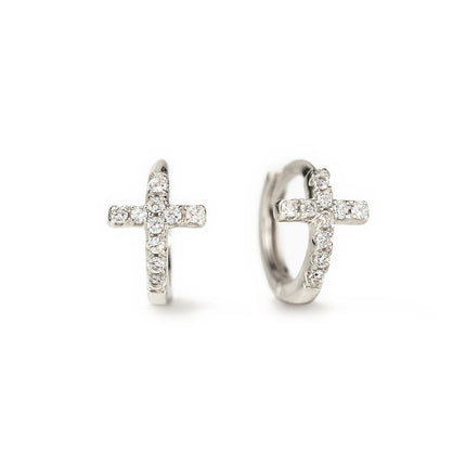Tiny Cross Huggie Earrings