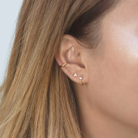 Pave Bead Huggie earring with Tiny Clover Stud and Gold Ear Cuff