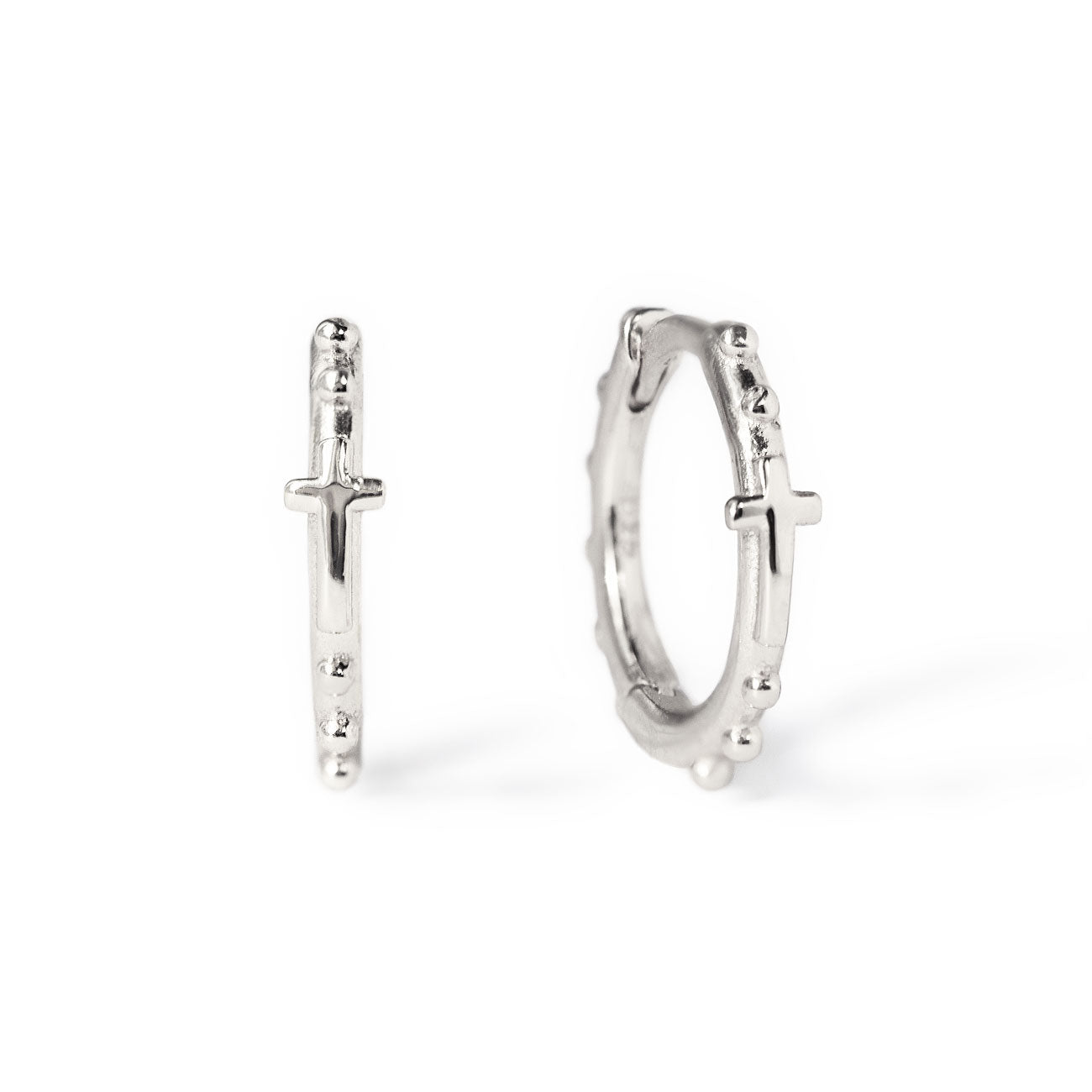 Sterling Silver Cross Bead Hoop Earrings