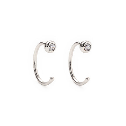 Tiny Solitaire Huggie Earrings