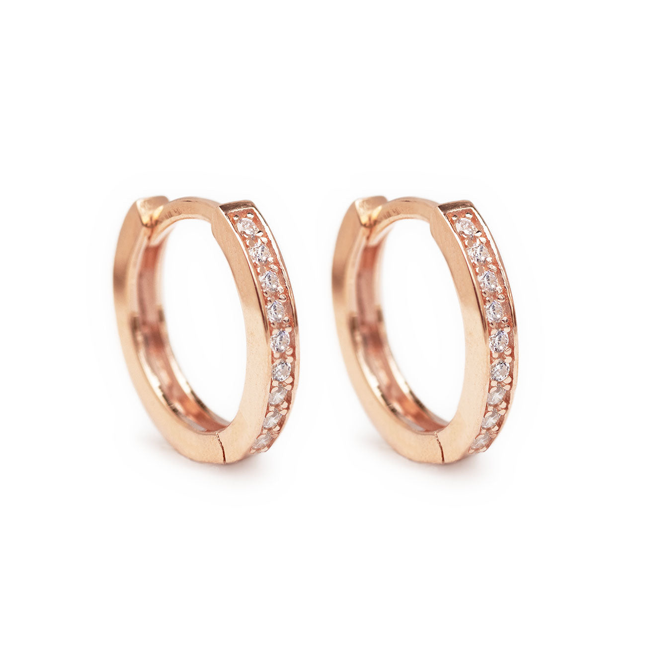 Classic Rose Gold Huggie Hoops with Cubic Zirconia Crystals