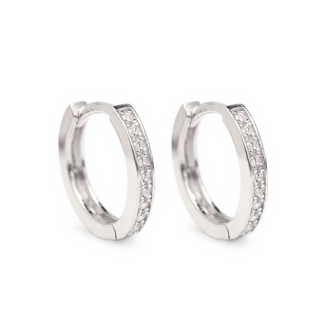 Classic Sterling Silver Pave Huggie Hoop Earrings