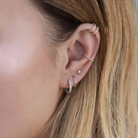 Sterling Silver Ear Stack with Huggie Hoops, Crystal stud earring, and ear cuffs
