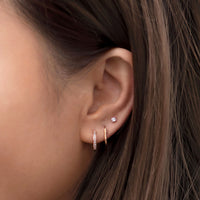 Rose Gold Vermeil Pave Huggie Hoop with Classic Huggie and Stud Earring Ear Stack