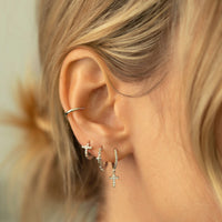 Cross Bead Mini Hoops