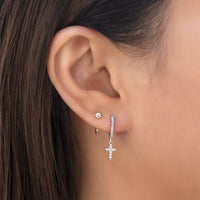 Cross Pave Huggie Hoops