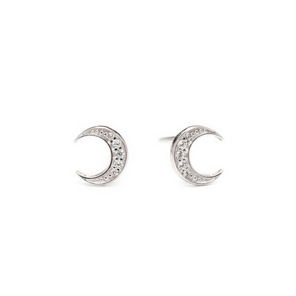 Crescent Moon Pave Studs