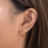 Small Gold Hoop Earrings, Gold Huggie Earrings and tiny stud earrings