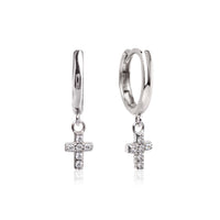 Cross Dangle Huggie Earrings