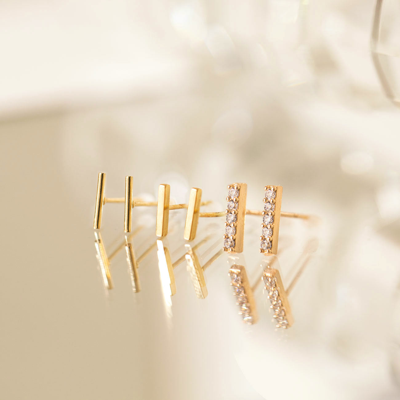 Solid Gold Bar Studs 14K