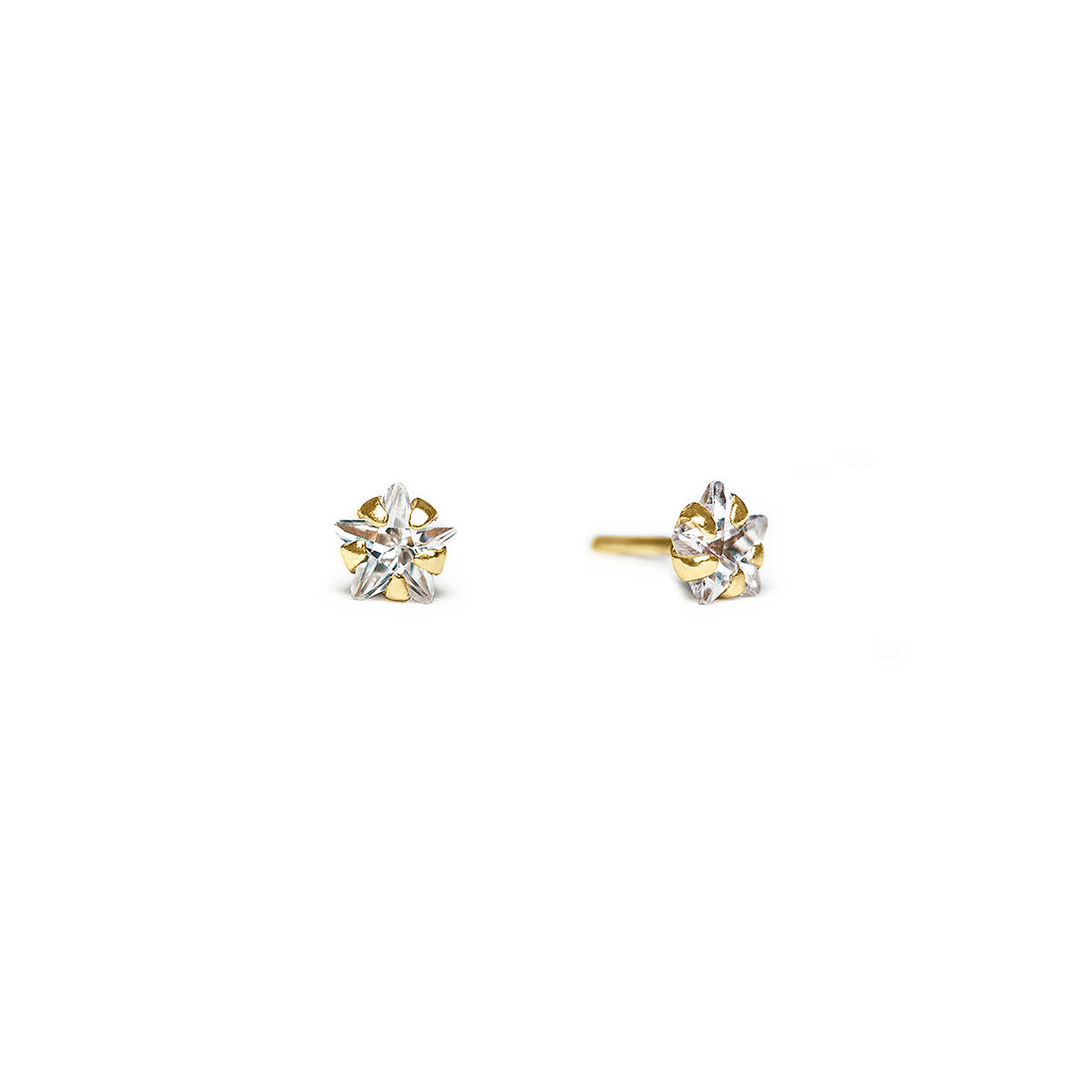Tiny 14K Gold Star Stud Earrings