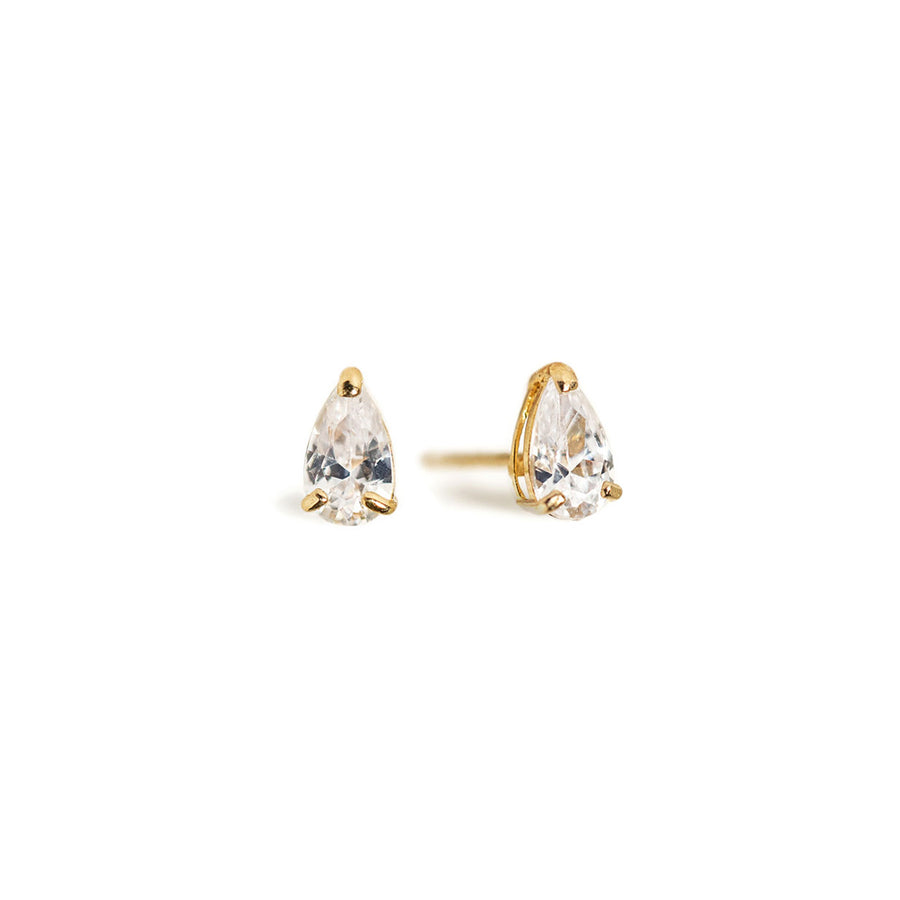 Tiny Pear Studs-14K Gold