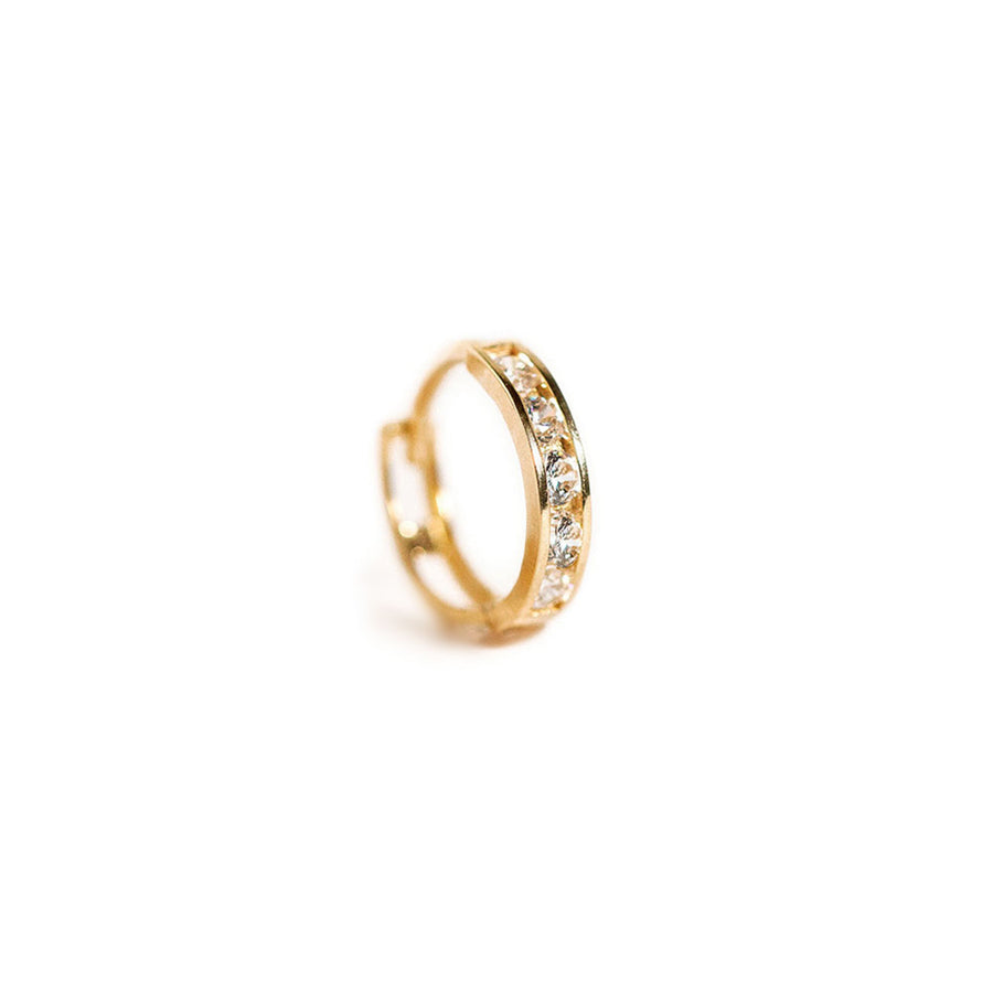 Single Pave Huggie-14K Gold
