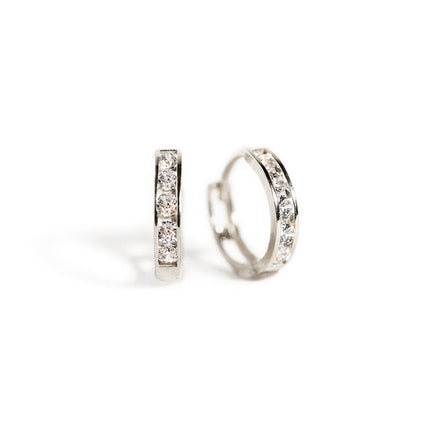 Pave Huggie Hoops-14K White Gold